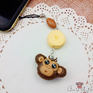 Monkey shaped macaron / silver colored / charm
