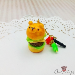 Bear shaped burger / gold colored / dust plug