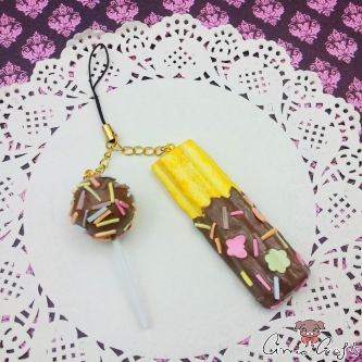 Churro and cake pop / gold colored / charm