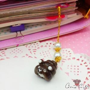Schokohörnchen mit Sahnefüllung / Goldfarbend / Anhänger