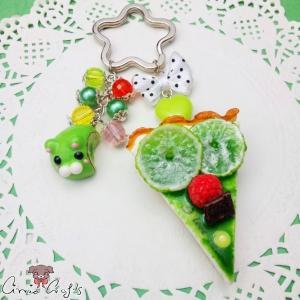 Kuchen mit Limetten / Silberfarbend / Schlüsselanhänger