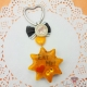 Star shaped cake / silver colored / keychain