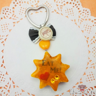 Star shaped cake / silver-colored / keychain