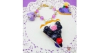 Cake with blueberries / gold colored / bag charm