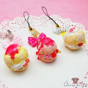 Cream Puff mit Schleife / Verschiedene Varianten / Anhänger