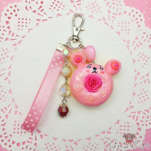 Bear shaped donut / silver colored / charm