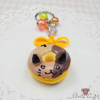 Cat shaped donut / silver-colored / keychain
