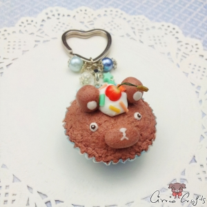 Bear shaped muffin / silver colored / keychain