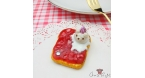 Toast with marmalade and ice cream / antique bronze-colored / pin