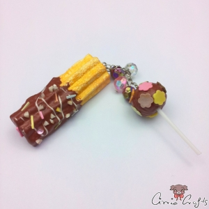 Churro and cake pop / silver-colored / pin