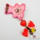Pink bear shaped cookie / antique bronze colored / pin