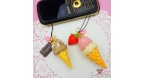 Ice cream in a waffle cone / gold colored / different variations / charm