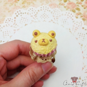 Bear shaped muffin / gold colored / ring