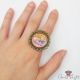 Cabochon setting with a butterfly / antique bronze colored / ring