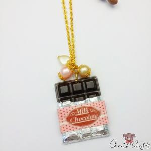 Schokoladentafel mit Verpackung / Banane / Goldfarbend / Halskette