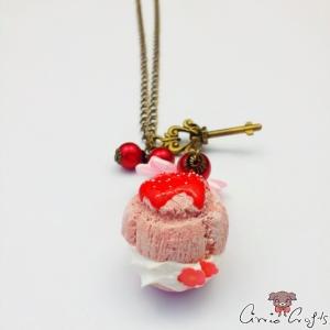 Light pink cream puff / antique bronze colored / necklace