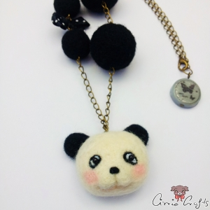 Panda with black beads / antique bronze colored / necklace