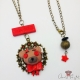 Cabochon setting with a bear / antique bronze colored / necklace