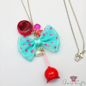 Candy apple with a turquoise ribbon bow / silver colored / necklace