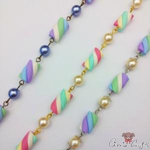 Marshmallows mit Perlen / Verschiedene Farben / Armkette
