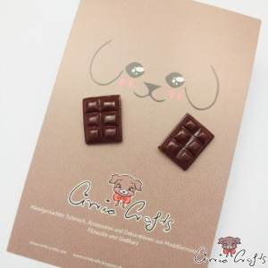 Chocolate bars / silver colored / ear studs