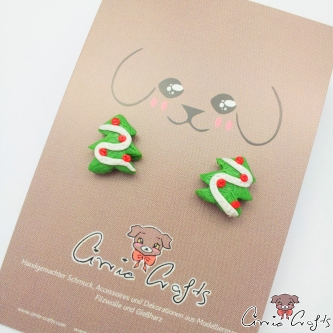 Christmas tree / silver colored / ear studs