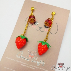 Strawberries with red beads / gold colored / ear studs