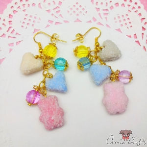 Sugared fruit jellies / gold colored / earring hooks