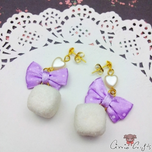 Sugar cubes with ribbon bows / gold colored / ear studs