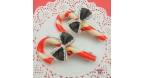 Candy cane / gold and silver colored / barrette