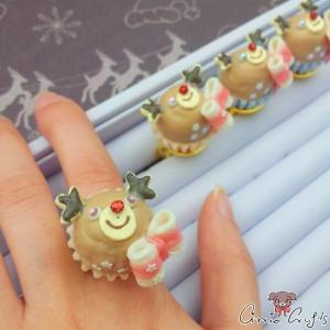 Rentier-Cupcake / Verschiedene Farben / Ring