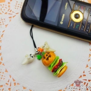 Hamburger with ghosts / silver / halloween / charm