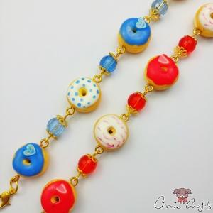 Donuts mit Perlen / Verschiedene Farben / Goldfarbend / Armkette