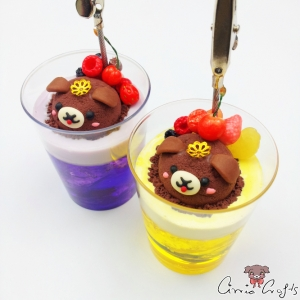 Ice cream soda with fruits / different colors / note holder