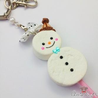 Marshmallow in Schneemann-Form / Silberfarbend / Schlüsselanhänger