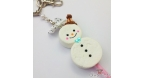 Snowman shaped marshmallows / silver colored / keychain