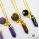 Facettierter Edelstein mit Perlen / Goldfarbend / Bullet / Verschiedene Farben / Halskette