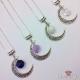 Mond mit Edelsteinperle / Silberfarbend / Verschiedene Farben / Halskette