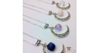 Moon with a gemstone bead / silver colored / different colors / necklace