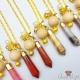 Facettierter Edelstein mit Holzperle / Goldfarbend / Bullet / Verschiedene Farben / Halskette