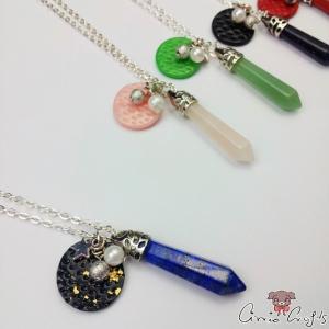 Facettierter Edelstein mit Anhänger aus Polymer Clay / Silberfarbend / Bullet / Verschiedene Varianten / Halskette