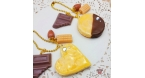 Almond cookies with caramel / ball chain / gold colored / different variations / bag charm