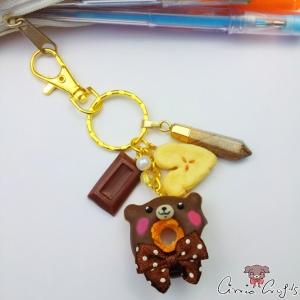 Schoko-Donut in Bärenform / Goldfarbend / Schlüsselanhänger