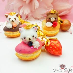 Dekorierter Donut mit Praline in Tierform / Goldfarbend / Verschiedene Varianten / Anhänger