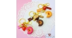 Glazed donut / gold colored / different variations / keychain