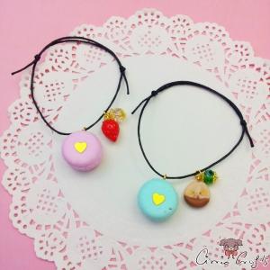 Armband mit einem Macaron, einer Perle und einer Frucht / Größenverstellbar / Baumwollwachskordel / Verschiedene Varianten