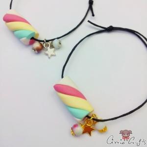 Armband mit einem Marshmallow / Größenverstellbar / Baumwollwachskordel / Verschiedene Farben