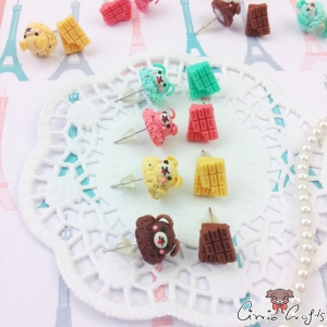 Scoop of ice cream and a chocolate bar / silver-colored / different colors / ear studs