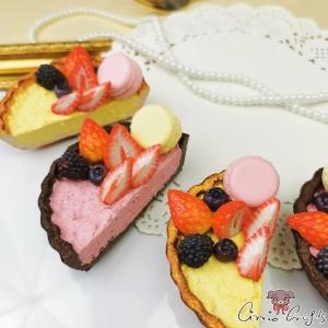 Tarte mit Früchten und einem Macaron / Verschiedene Varianten / Magnet