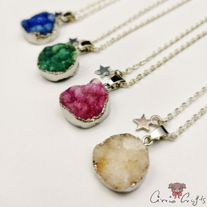 Agate with silver-colored edge / round / silver-colored / different colors / necklace
